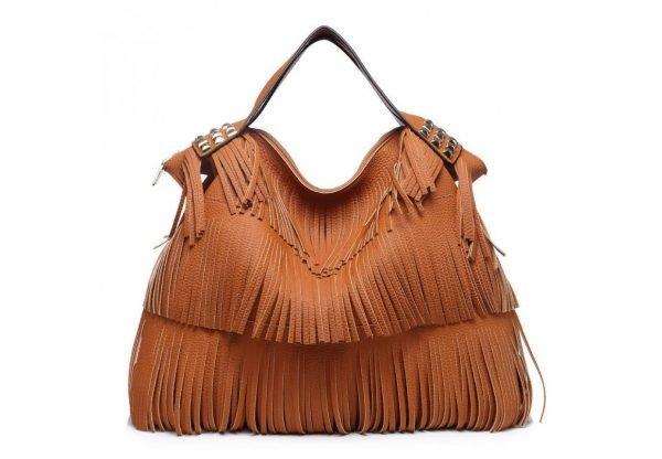Tas Fringe Studs cognac camel dames handtassen met fringe franjes tas online kopen fashion bag