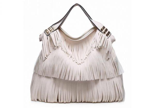 Tas Fringe Studs wit witte dames handtassen met fringe franjes tas online kopen fashion bag