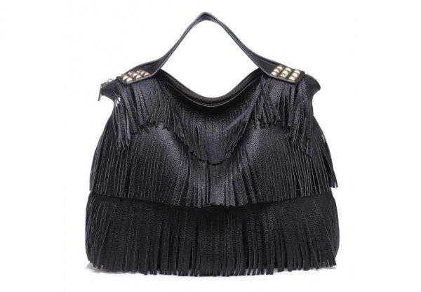 Tas Fringe Studs zwart zwarte dames handtassen met fringe franjes tas online kopen fashion bag