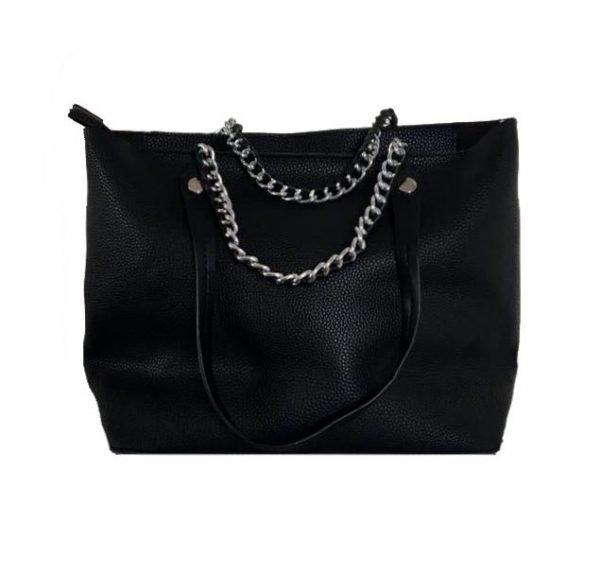 Tas-Guitarstrap-zwart zwarte-dames-bag in bag tassen-met-zilveren-ketting-hengsel-musthave-soepele-goedkope-mooie-dames-tassen-online kopen