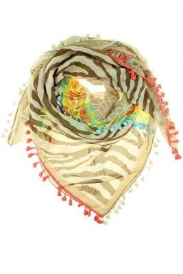 Boho Sjaal aloha taupe bohemian driehoeks sjaal kwastjes print dames sjaals online kopen bestellen