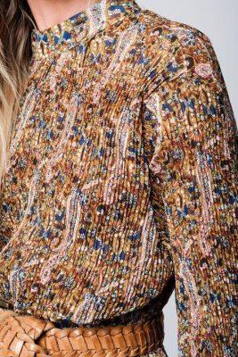 Bruine Jurk retro flowers lange dames jurk bruin hoge col klokmouwen bloemenprint boho dames jurken zomer jurken lang detail