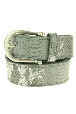 Dames Riem Adil Snake leder leren grijs grijze zilver gesp riemen accessoires centuren online kopen bestellen