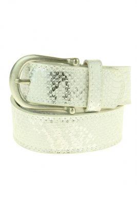 Dames Riem Adil Snake leder leren wit witte zilver gesp riemen accessoires centuren online kopen bestellen