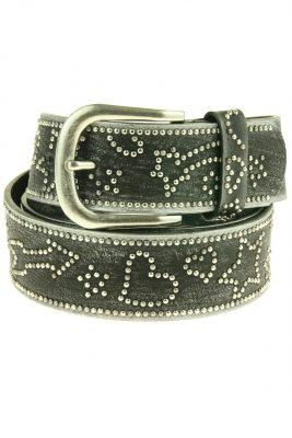 Dames Riem Multi Studs leder leren zwart zwarte zilver gesp riemen accessoires centuren online kopen bestellen