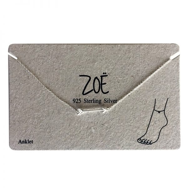 Enkelbandje Pretty Arrow-925-sterling-merk-ZOË-silver-zilver-zilveren-bandjes-dames-enkelbandjes-online-bestellen-kopen zoe-ankle-strap-