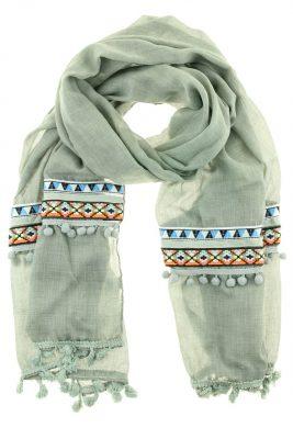 Sjaal BohoTenerife grijs grijze bohemian print bolletjes dames sjaals online kopen bestellen