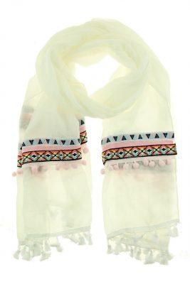 Sjaal BohoTenerife wit witte bohemian print bolletjes dames sjaals online kopen bestellen