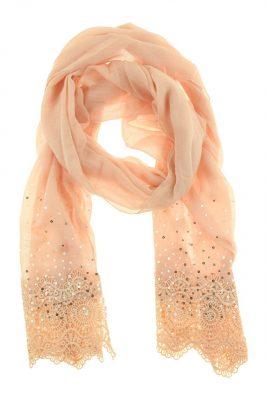 Sjaal Broderie roze gehaakte dames sjaals pailletten online kopen bestellen detail