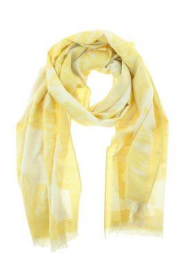 Sjaal Feathers geel gele dames sjaals veren print online kopen bestellen viscose mooie sjaals online kopen