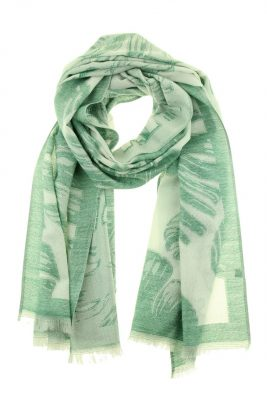Sjaal Feathers groen groene dames sjaals veren print online kopen bestellen viscose mooie sjaals online kopen