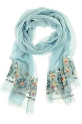 Sjaal Flowers blauw blauwe dames sjaals bloemen print online kopen bestellen detail