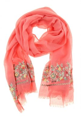 Sjaal Flowers koraal dames sjaals bloemen print online kopen bestellen detail