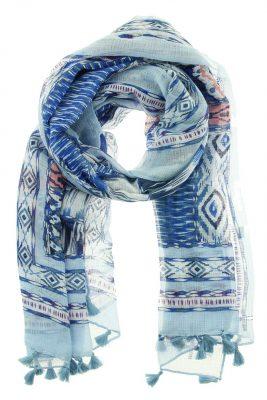 Sjaal Savina blauw blauwe boho print dames sjaals online kopen bestellen