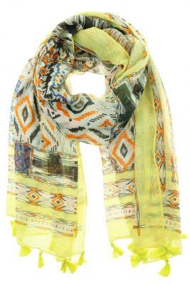 Sjaal Savina geel gele mix kleurrijke boho print dames sjaals online kopen bestellen detail