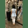 Topje Chloe licht blauw blauwe open rug truitje top hoge col zonder mouwen katoenen zomer tops online kopen