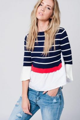 Trui stripes blauw blauwe wit rood gestreepte dames trui met hemd en Klokmouwen unieke dames truien musthaves
