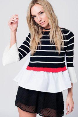 Trui stripes zwart zwarte wit rood gestreepte dames trui met hemd en Klokmouwen unieke dames truien musthaves