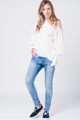 Witte Blouse openschouders strapless wit blouse lange mouwen strik aparte dames blouses kleding online kopen