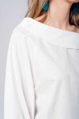 Witte Blouse openschouders strapless wit blouse lange mouwen strik aparte dames blouses kleding online kopen zijkant schouderdetail