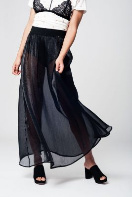 zwarte maxi chiffon Rok zwart doorzichtige lange rokken sexy dames rokken see trough skirt online musthave rok