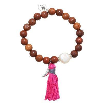 Armband Haaientand bruin bruine kralen armband zilveren bedel en roze kwastje boho dames sieraden armbanden