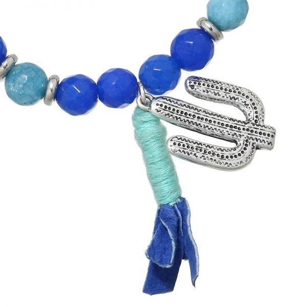 Armband beads & cactus blauw zilveren dames kralen armband boho armbanden sieraden fashion online detail