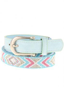 Dames Riem Beads licht blauw blauwe kralen print damesriemen zilver gesp riemen accessoires centuren online kopen bestellen
