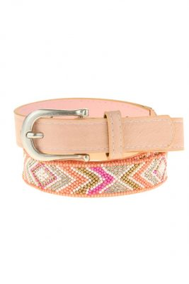 Dames Riem Beads roze pink kralen print damesriemen zilver gesp riemen accessoires centuren online kopen bestellen