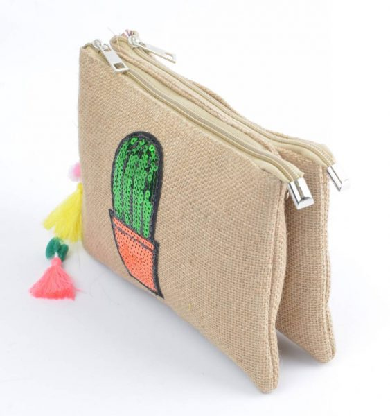 Dubbele Jutte Clutch Cactus dames clutches zomer schoudertas -dubbele-rits online tassen hippe leuke tas zijkant