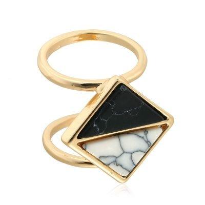 Dubbele Ring Marble Dream gouden dames ringen met zwarte en witte marmeren stenen hippe dames ringen online kopen