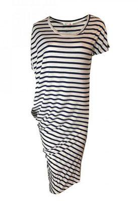 Jurk strepen asymmetrisch blauw wit navy zomer jurken online dames kleding jurken tshirt dress online bestellen kopen