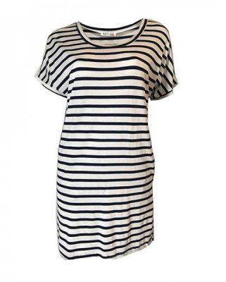 Jurk strepen blauw wit met zakken navy zomer jurken online dames kleding jurken tshirt dress online bestellen kopen