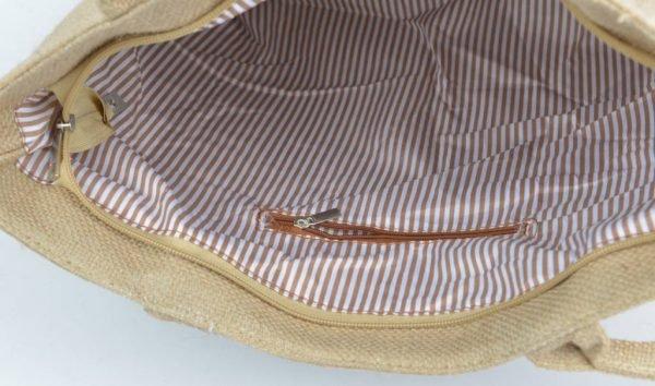 Jutte Shopper Pink boho mooie dames shoppers zomer kwastjes print online tassen hippe leuke tas binnenkant