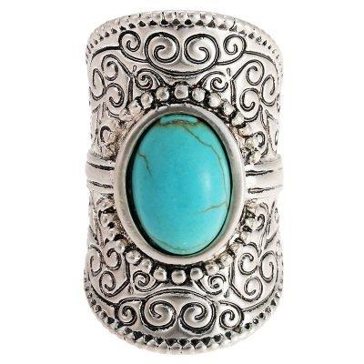 Ovale Boho ring turquoise steen zilver zilveren dames ringen bohemian met turquoise steen accessoires