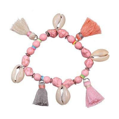 Roze Boho Armband shell & tassel dames armbanden van stenen schelpen kwastjes beach bracelets