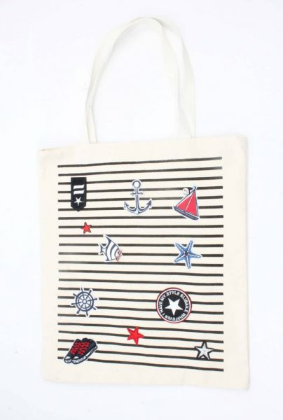 Shopper Navy wit met strepen blauwe patches canvas tas dames shoppers zomer tassen strandtassen online kopen