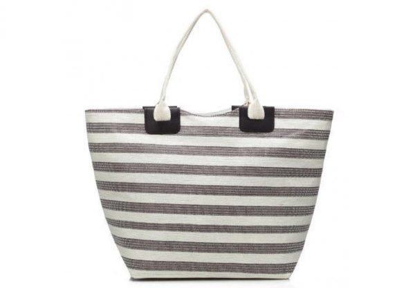 Shopper strepen bruin bruine witte grote dames tas mand strandtas online bestelen luxe goedkope tassen