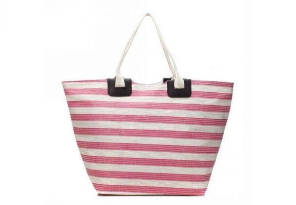 Shopper strepen roze fuchsia pink witte grote dames tas mand strandtas online bestelen luxe goedkope tassen