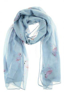 Sjaal Flamingo blauwe blauwe viscose sjaal roze flamingos dames dunne zomer sjaals sjaaltjes print sjaals