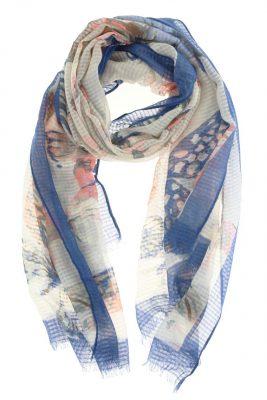 Sjaal Vlinders blauw blauwe viscose sjaal dames dunne zomer sjaals sjaaltjes butterfly vlinder print sjaals