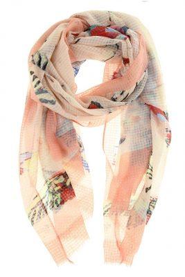 Sjaal Vlinders roze pink licht roze viscose sjaal dames dunne zomer sjaals sjaaltjes butterfly vlinder print sjaals
