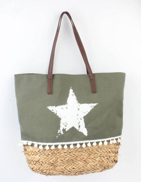 Strandtas ster khaki groen canvas tassen tas met riet mooie shopper bolletjes boho strandtassen online kopen