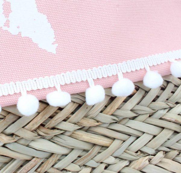 Strandtas ster-roze canvas tassen tas met riet mooie shopper bolletjes boho strandtassen online kopen detail