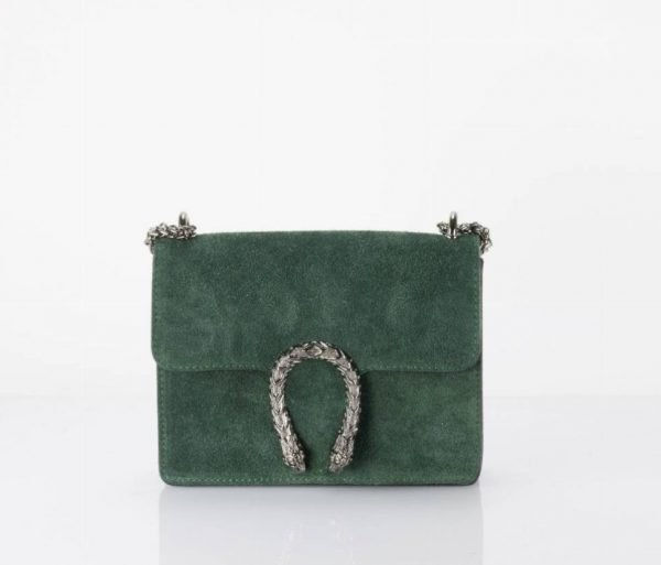 Suède-Tas-Diony-groen groene-zilveren-tassen-dierenkop-slangenkop-sluiting-kettinghengsel-lederen-tassen-online-look-a-like-400x400
