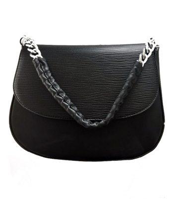 Tas Maya zwart zwarte dames schoudertassen korte zilveren hengsel dames tassen it bags guiliano onlinekopen