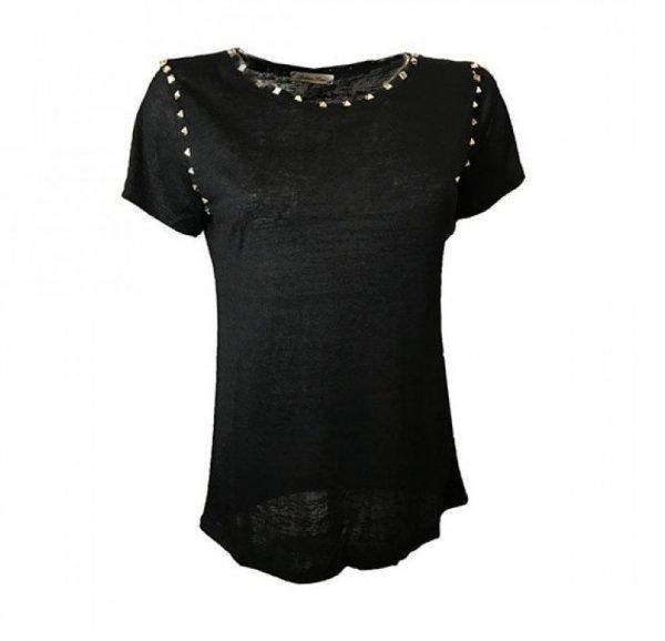 Tshirt studs zwart zwarte shirt met gouden studs damesshirts t shirts truitjes topjes zomer meiden