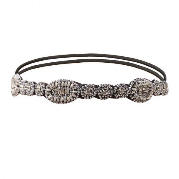 Fashion-haarband- Sparkle Stone zilveren kralen-stenen strass Headband-haar-accessoires-hair-musthave-items-zwart-elastiek-online-bestellen