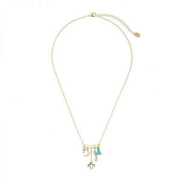 Ketting Bedeltjes gouden goud dunne dames kettingen mint turquoise kwastjes kraaltjes beldels sieraden online kopen