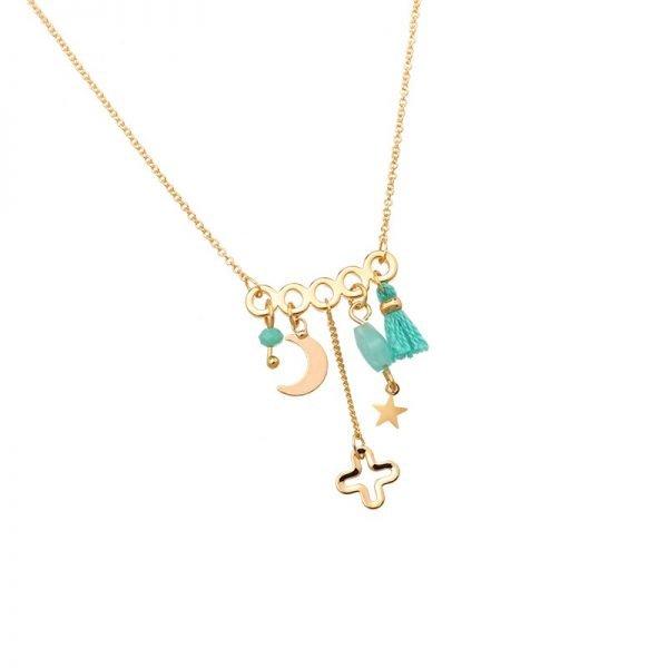 Ketting Bedeltjes gouden goud dunne dames kettingen mint turquoise kwastjes kraaltjes beldels sieraden online kopen detail